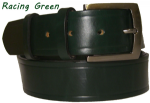 38mm Racing Green Handmade English Bridle Leather Belt With Buckle - made in England by Bucklebox